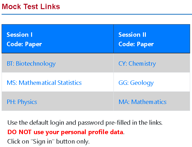 IIT JAM Mock Test Links