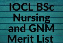 IOCL BSc Nursing and GNM Merit List 2019