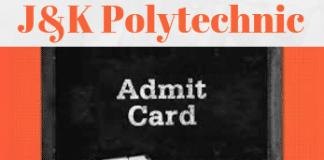 J&K Polytechnic Admit Card