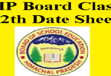 HP Board Class 12th Date Sheet