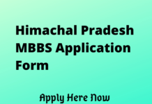 Himachal Pradesh MBBS Application Form