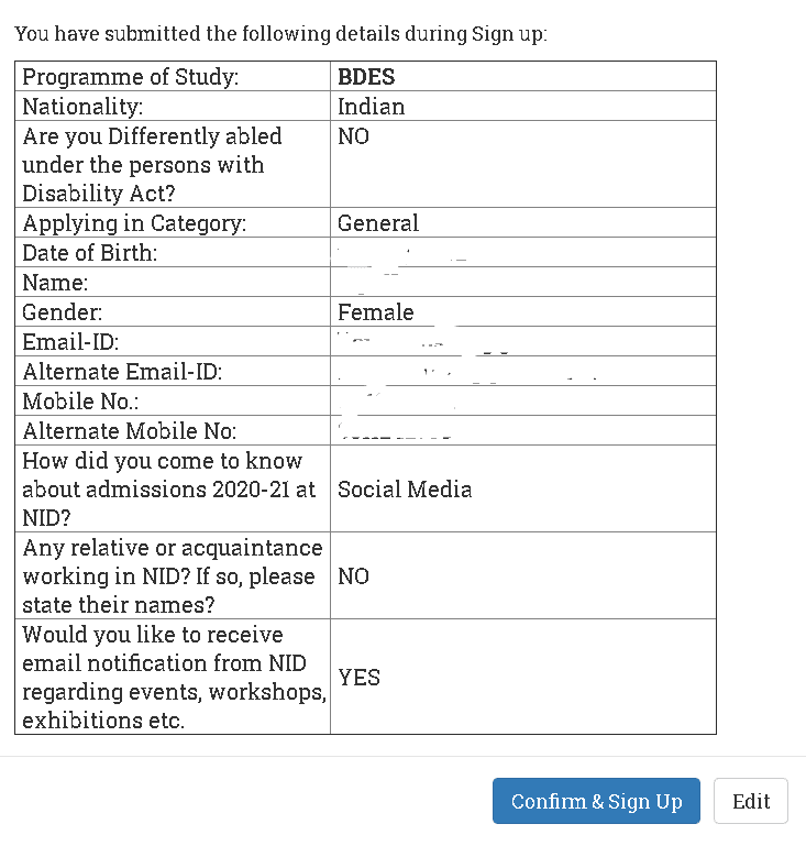 NID Application Form Details Confirmation