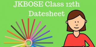 JKBOSE Class 12th Datesheet