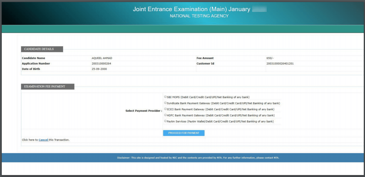 JEE Main application fee payment page