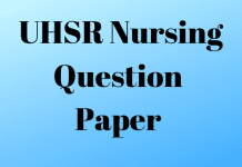 UHSR Nursing Question Paper
