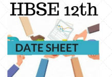 HBSE 12th Date Sheet