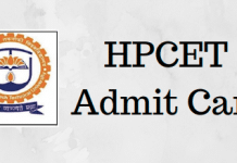 HPCET Admit Card