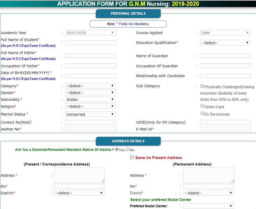 Odisha GNM, ANM, B.Sc Nursing Registration Form 2019