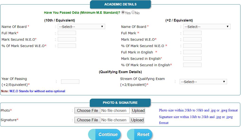 Odisha Nursing Application Form