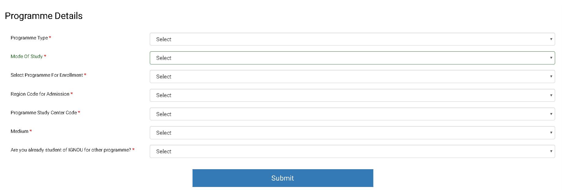 IGNOU Application Form Programme Details