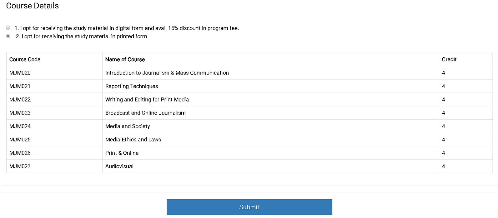 IGNOU Application Form Course Details