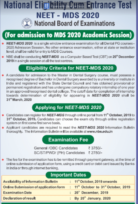 NEET MDS 2020 Schedule