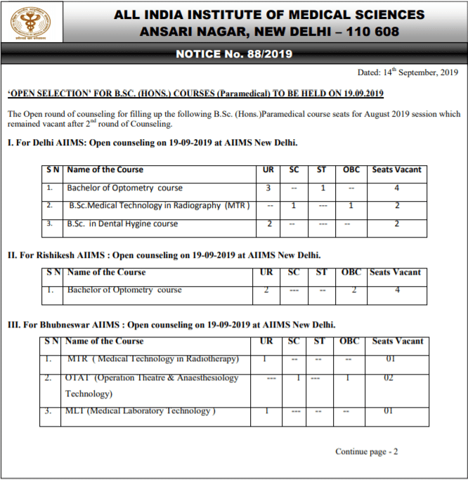 AIIMS B.Sc Counselling for Paramedical Courses 2019