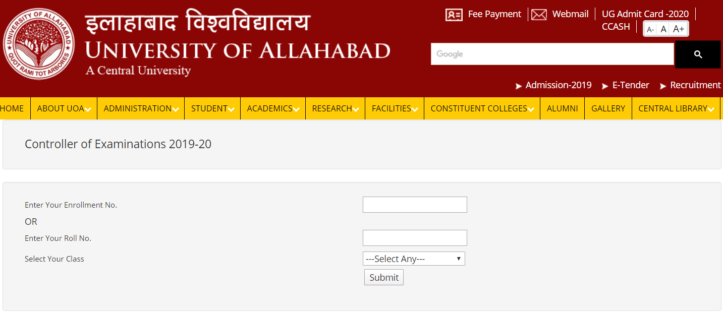 University of Allahabad Admit Card