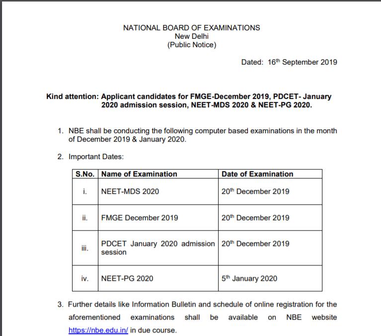 NEET MDS Official Notification 2019-20