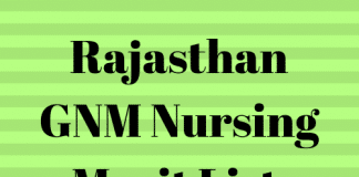 Rajasthan GNM Nursing Merit List