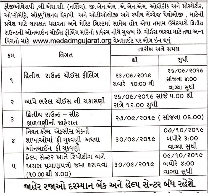 Gujarat Nursing Second Counselling Schedule