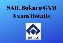SAIL Bokaro GNM Exam Details