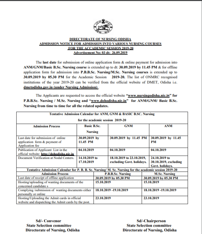 Odisha GNM and ANM 2019 Scheduled Dates