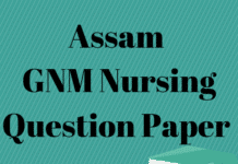 Assam GNM Nursing Question Paper