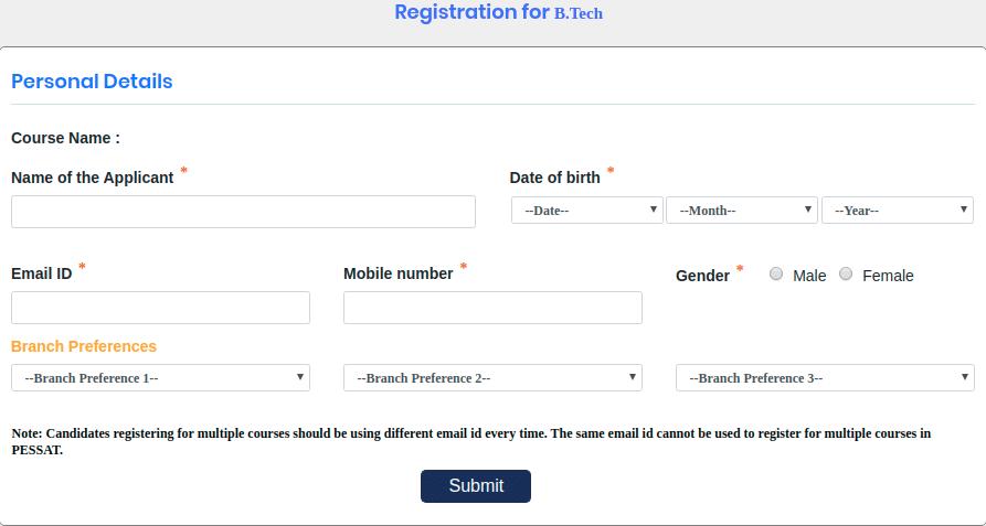 PESSAT Registartion Form