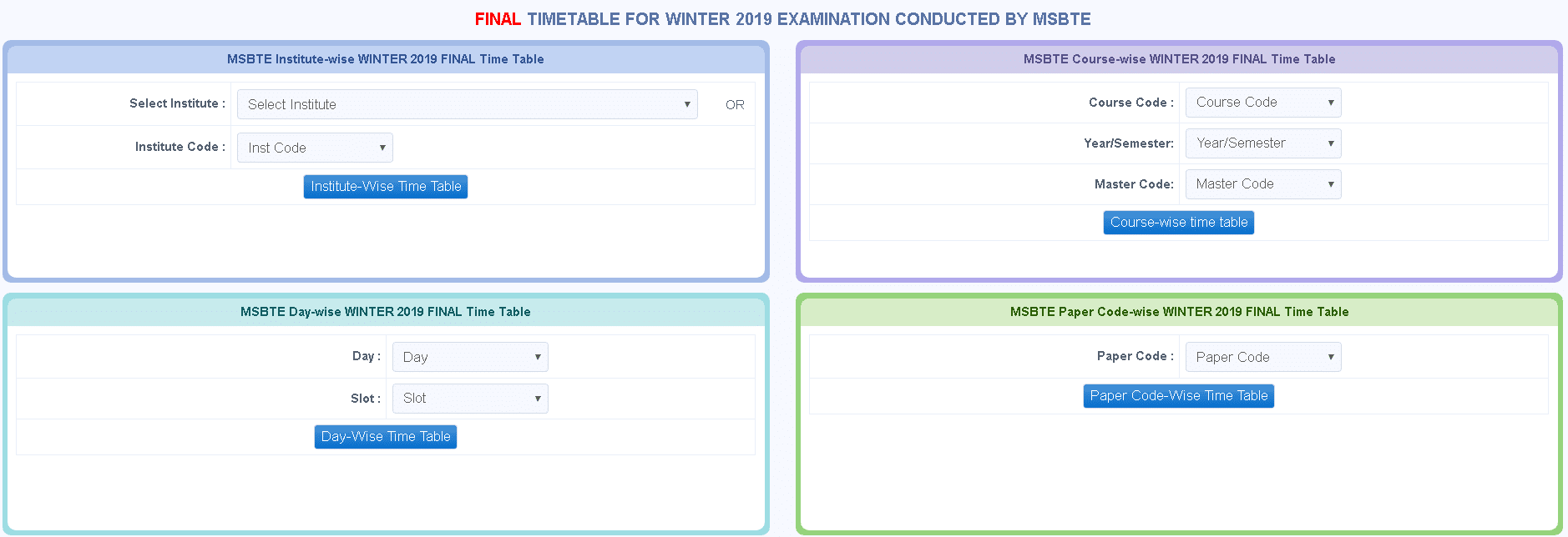 MSBTE Winter Session Final Time Table Login Section