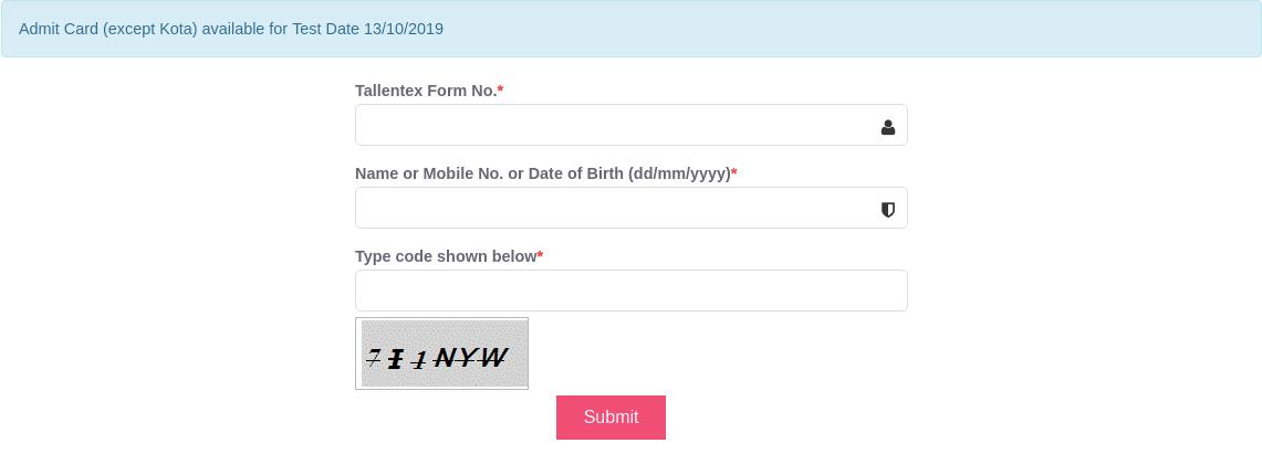 TALLENTEX admit card login section