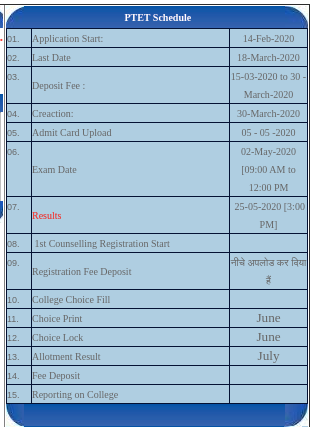 PTET Time Table