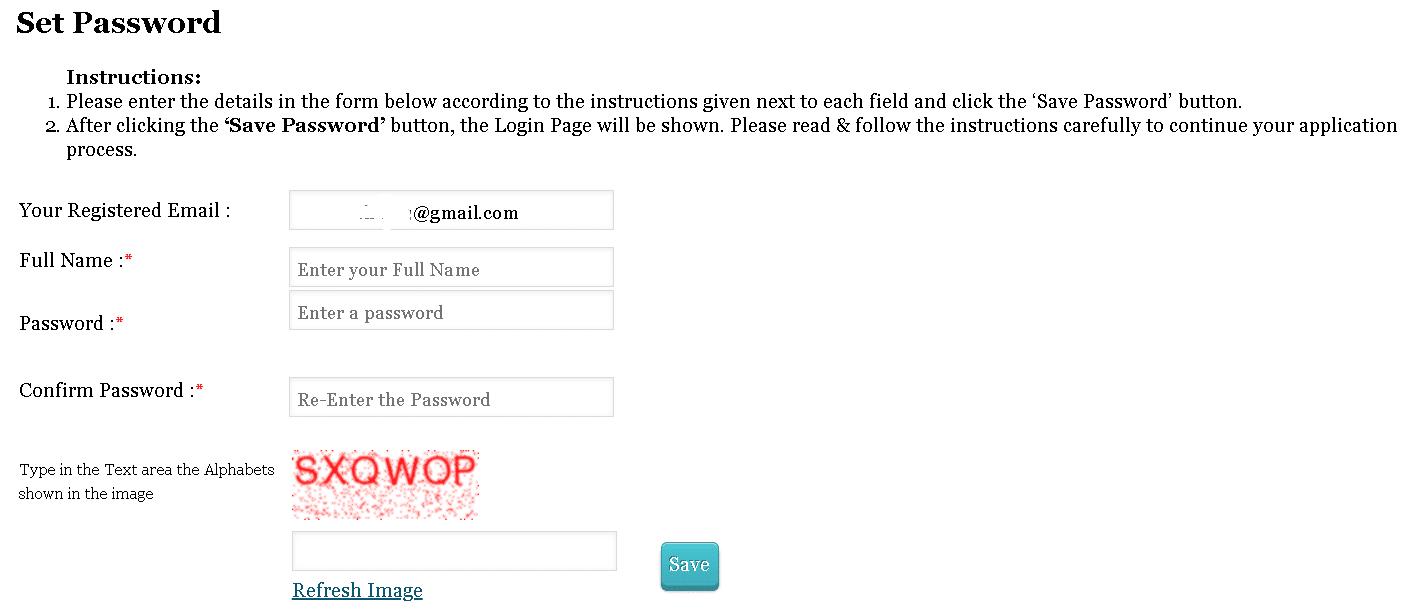TISSNET Application Form Set Password