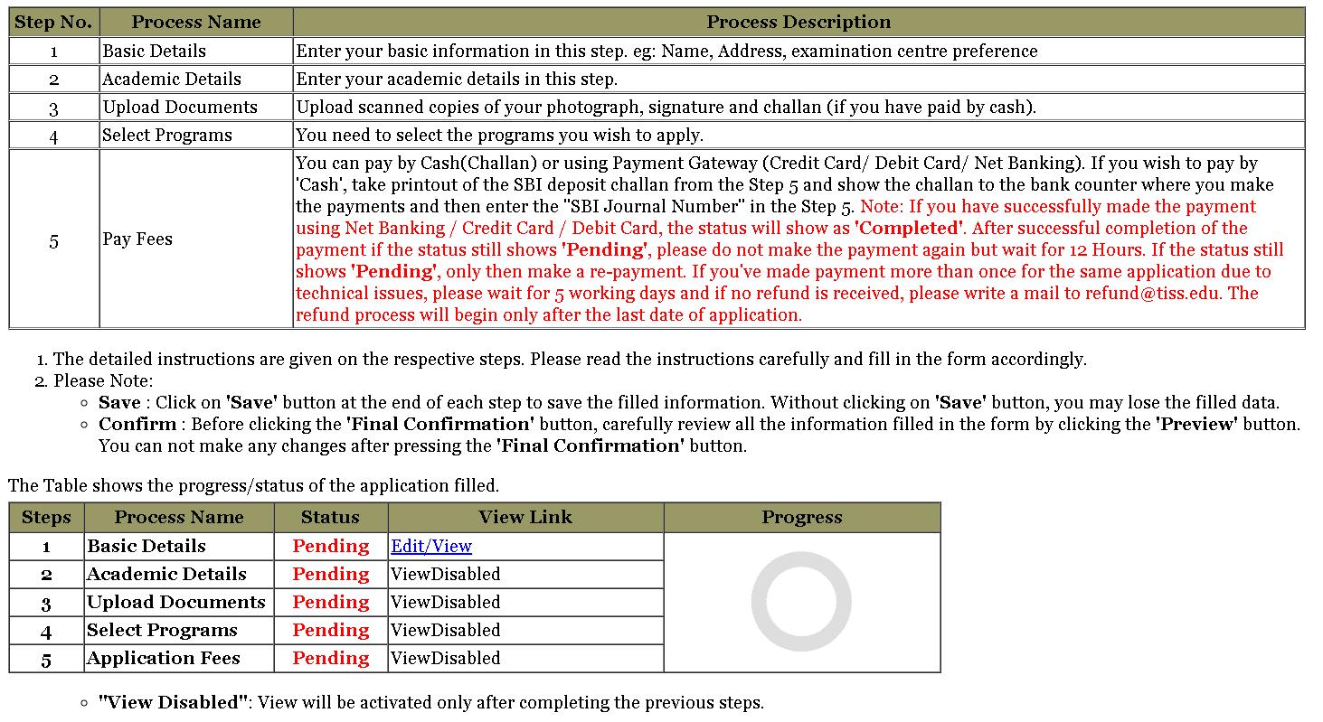 TISSNET Application Form Instructions