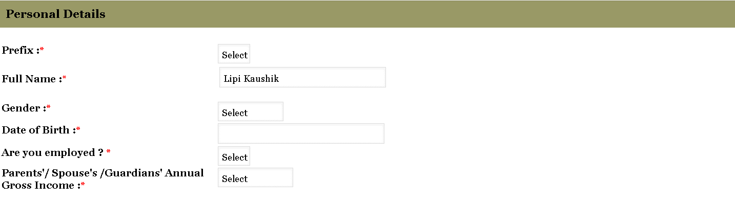 TISSNET Application Form Personal Details