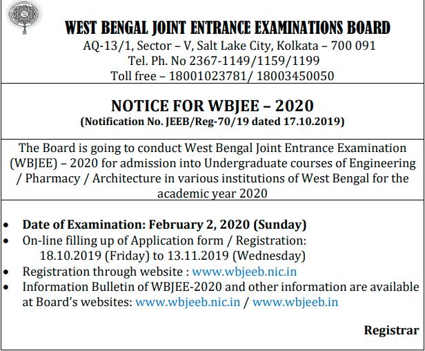 WBJEE Application Form (Pharmacy)