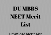 DU MBBS NEET Merit List