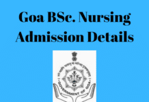 Goa BSc. Nursing Admission Details
