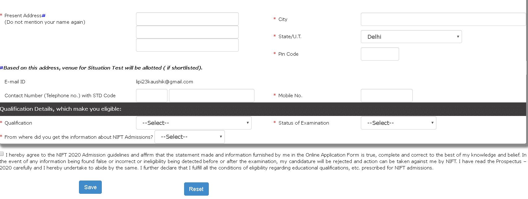 NIFT Application Form Contact Details
