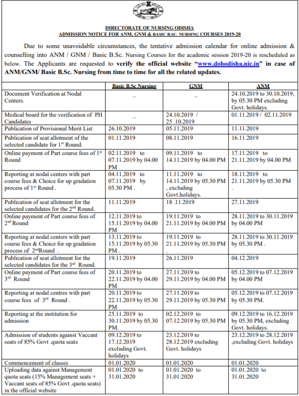 Odisha GNM and ANM Revised Admission Schedule 2019