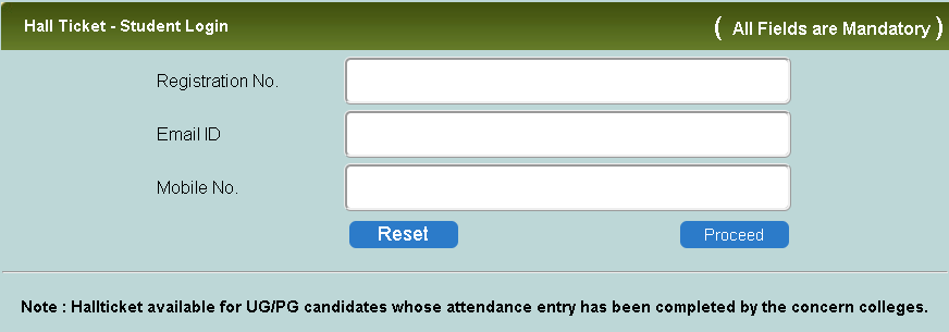 MS University Semester Exams Hall Ticket Login Section