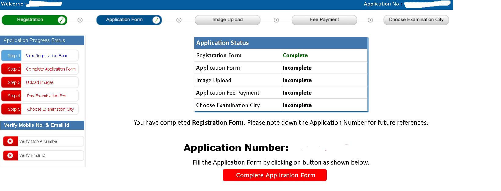 NCHM JEE Application Number