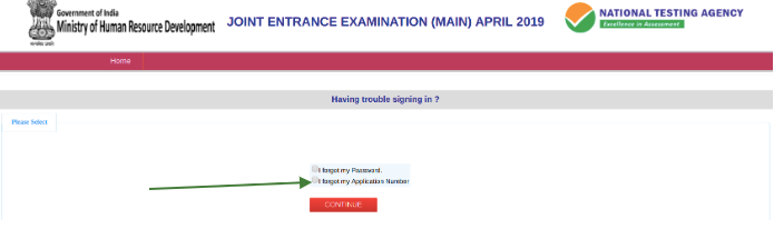 JEE Main Forgot Application Number