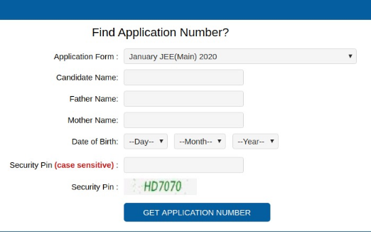 JEE Main Find Application Number