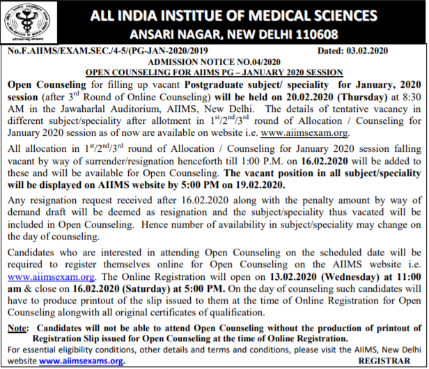 AIIMS PG Open Round Counselling