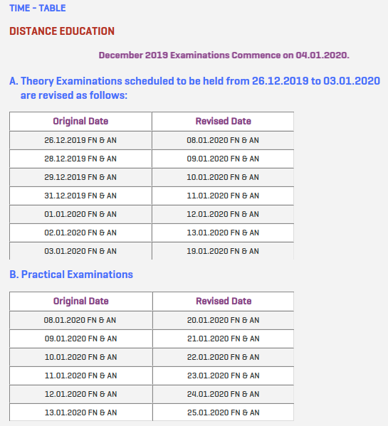 Algappa University Exam Time Table