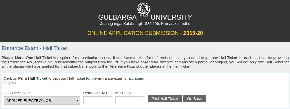 Gulbarga University Hall Ticket