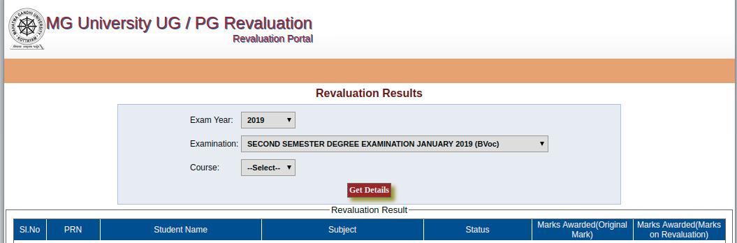 MG UNiversity Revaluation Result