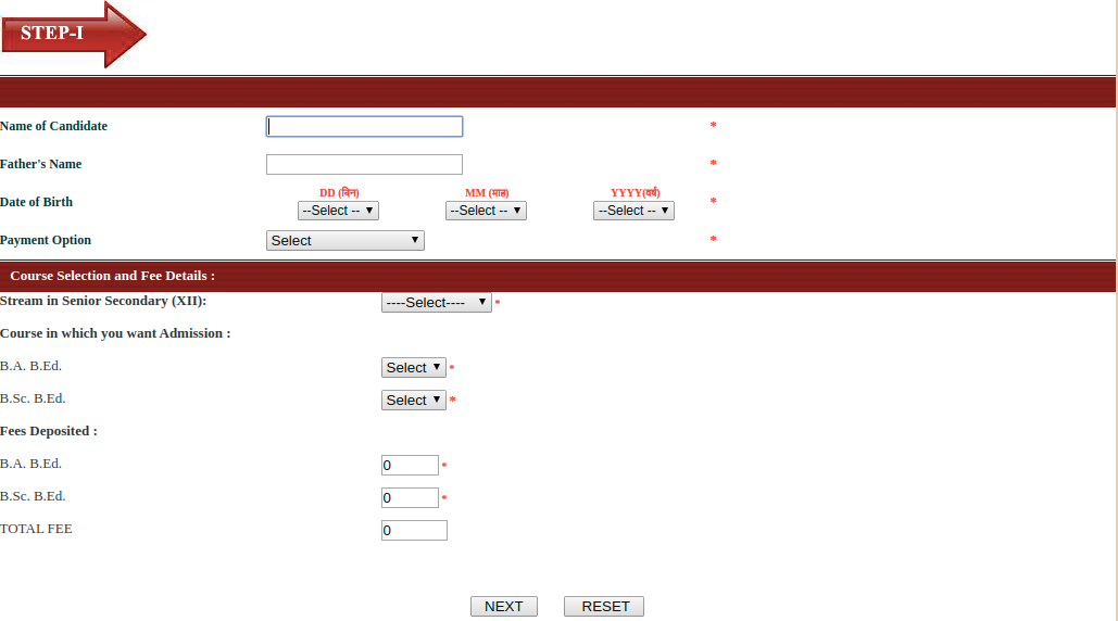 PTET Application Form