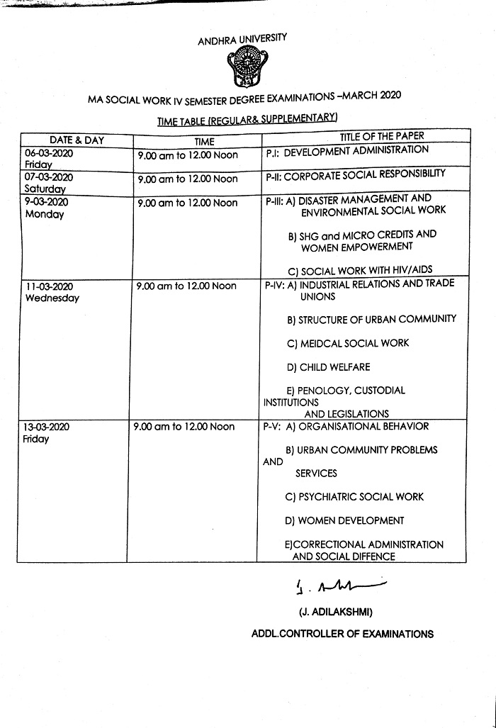 AUCET M.A Social Work Fourth Semester Regular & Supplementary Examination Time-Table March