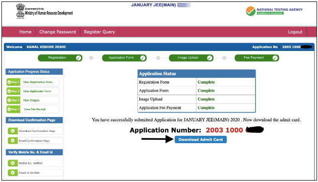 Click on the admit card