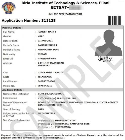 Image of BITSAT Application Form