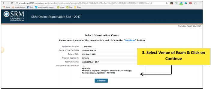 Confirm SRMJEEE Exam Venue