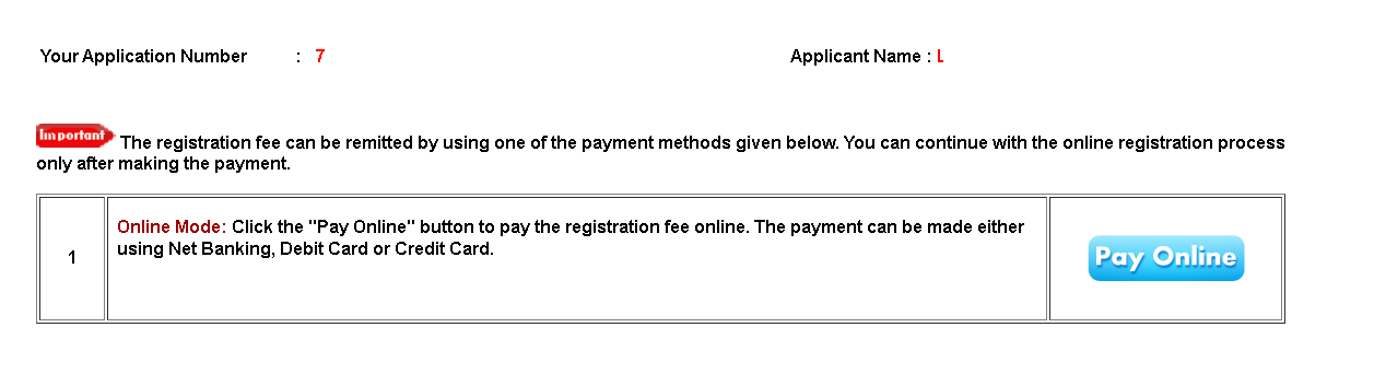 Kerala University MBA Application Form Fee Payment Section